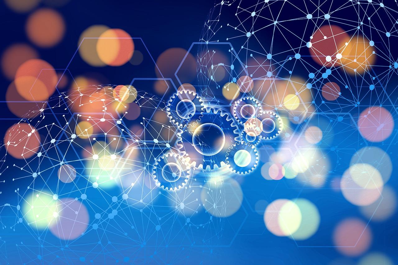 Illustration med kugghjul och nätverksnoder