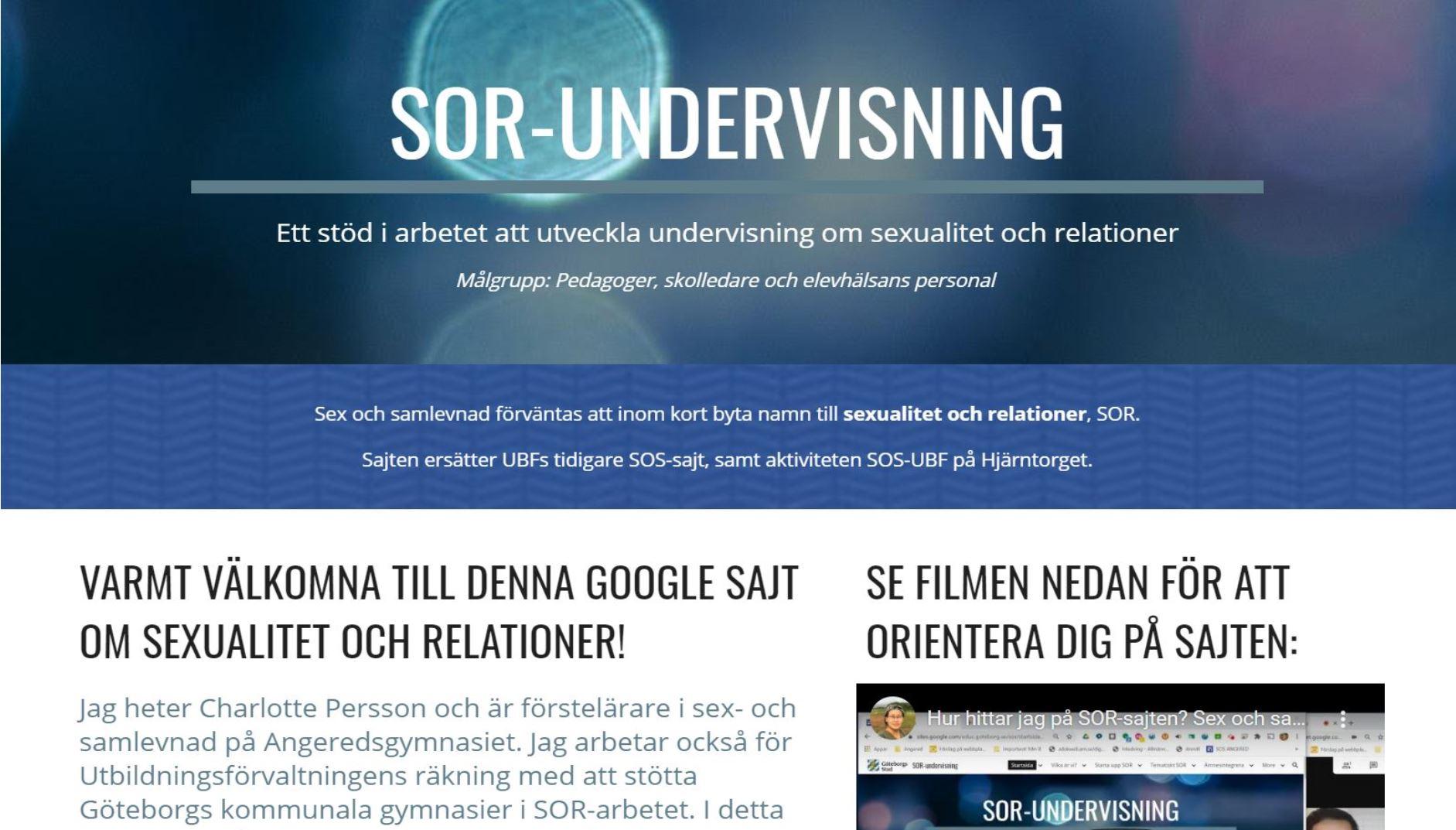 Skärmbild av startsidan för SOR-sajten